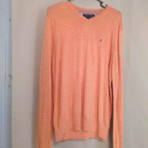 Tommy Hilfiger cashmere like v-neck sweater Orange